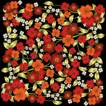 abstract floral ornament with red flowers isolated on black