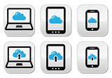 Cloud network on laptop, tablet, smartphone icons set