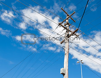 Australian electricity grid with power pole