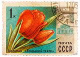 Post stamp printed in USSR (CCCP, soviet union) shows image of t