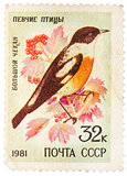 Stamp printed by Russia, shows bird, White-throated Bush Chat