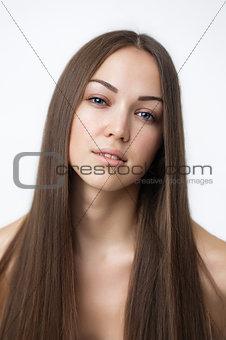 Beautiful Brunette Girl. Healthy Long Hair.