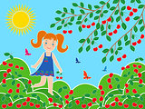 Small girl near cherry tree in sunny summer day