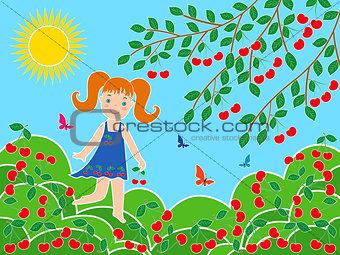 Small girl near cherry tree in sunny summer day