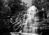 Arethusa Falls in black and white