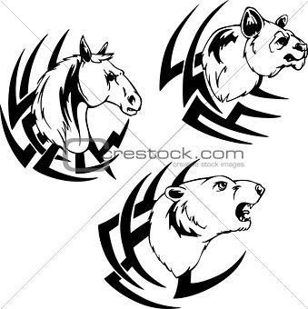 animal head tattoos