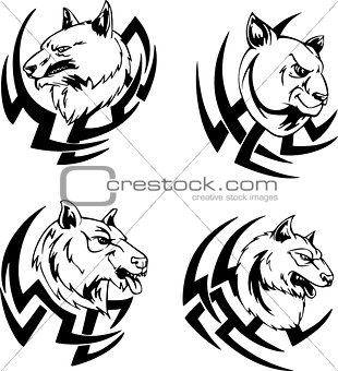 Predator animal head tattoos