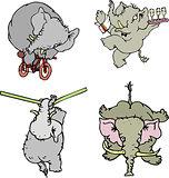 Comic elephant athletes