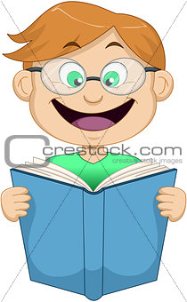 Boy With Glasses Reading From Book