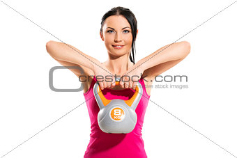 Cute brunette during fitness exercise