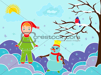Small girl with snowman among snowdrifts