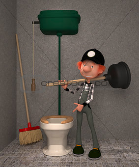 3D boy in a toilet.