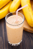 Glass of banana smoothie