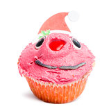 Christmas cupcake on white background in front of white background