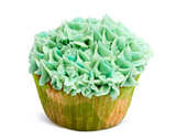 Cupcake with green icing against white background in front of white background