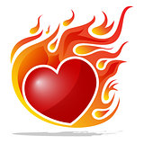 Burning heart isolated on white