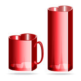 Red mug and glass heart shaped