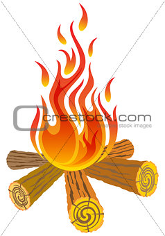 Camp fire isolated on white background