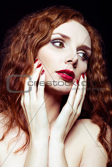 Closeup portrait of pretty red-haired girl