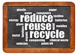 reduce, reuse, recycle word cloud