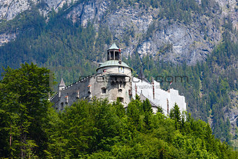 Alps mountain castle summer view