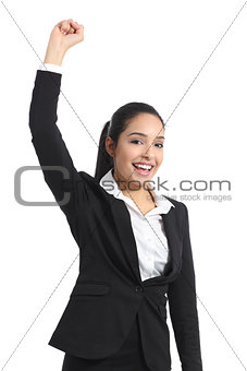 Arab business woman euphoric raising arm