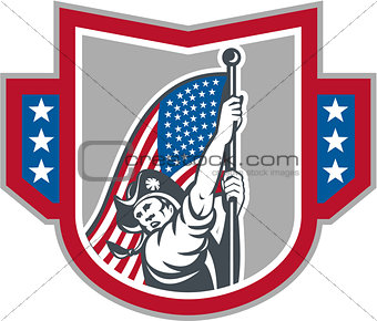 American Patriot Holding Up Stars Stripes Flag