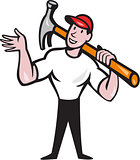 Carpenter Builder Hammer Cartoon