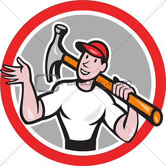 Carpenter Builder Hammer Circle Cartoon