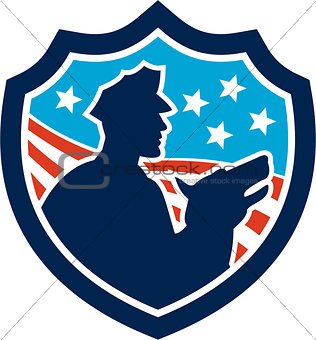 American Security Guard With Police Dog Shield