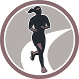 Female Marathon Runner Run Retro
