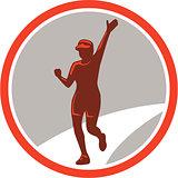 Female Marathon Runner Running Circle Retro