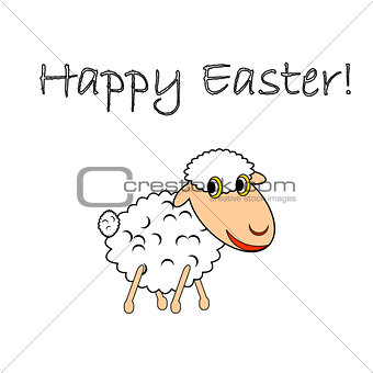 A funny cartoon Easter sheep
