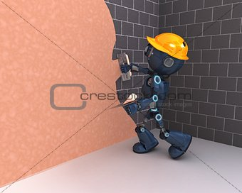 Android plastering a wall