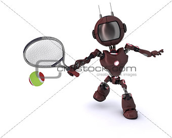 Android playing tennis