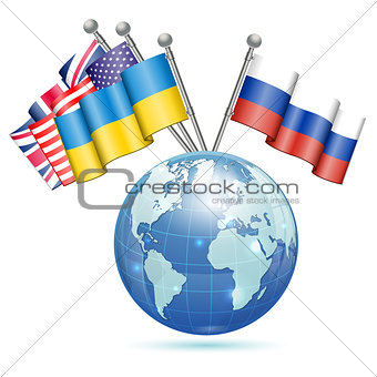 Flags of Ukraine, USA, UK and Russia