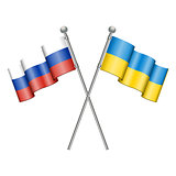 Flags of Ukraine and Russia