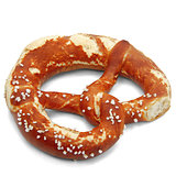 Salty pretzel isolated on white background