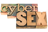 cybersex word in wood type