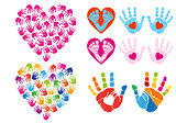 handprint hearts, vector set