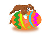 Easter egg with sleeping puppy