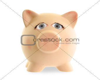 Ceramic piggy bank with human eyes