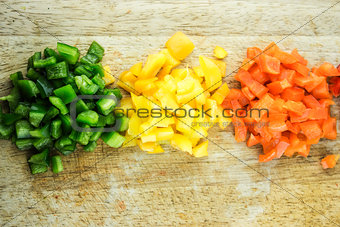 slices of colorful sweet bell pepper