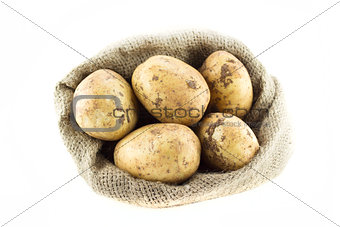 potatoes in burlap sack