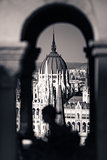 View of Hungarian Parliament Building with customers at Buda Cas
