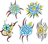 blue tribal flower tattoos