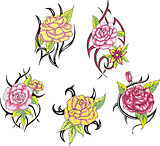 Set of tribal rose flower tattoos