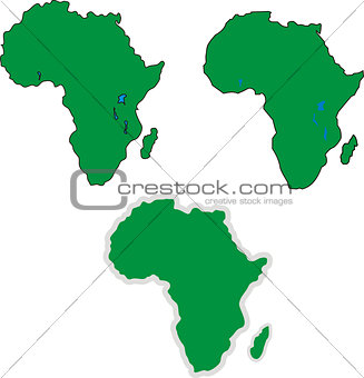 Three simple Africa outline maps