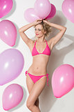 funny sexy woman with balloons