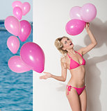 funny bikini girl with balloons